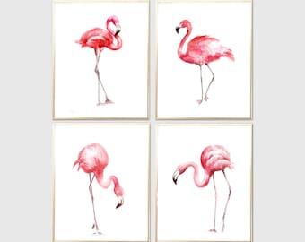 Flamingos watercolor print Set of 4 Art print Flamingos Wall decor Flamingos watercolor print Flamingos poster Flamingos wall decor