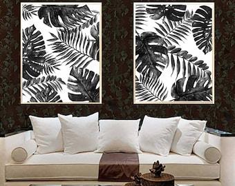 Monstera Leaves in Charcoal Palm Leaf art print Black Monstera watercolor print Leaves decor Palm room decor Palm  decor Monstera Leaves