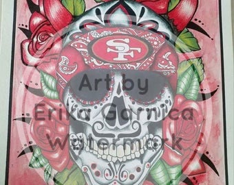 Art print NFL 49ers sugar skull w/roses