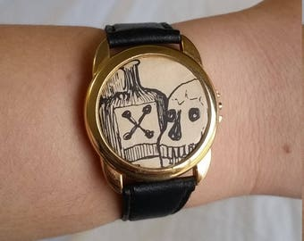 Skull and Poison Upcycled Watch
