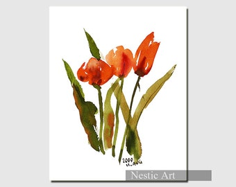 tulip B - watercolors, flowers, flora, plant, abstract flower, Home decor, wall art, printable, popular item, children, mother's day, most