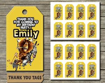 Madagascar / Madagascar Thank You Tags / Thank You Tags / Madagascar Thank You Birthday / Madagascar Thank You Cards / Thank You Cards
