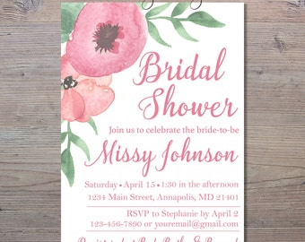 Floral Watercolor Pink Bridal Shower Invitation, Bridal Shower, Bridal Invitation, Floral Bridal Shower Invite, Watercolor Invitation