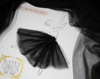 100 Black Soft Luxury Tulle Fabric, Tutu Fabric, Tulle Material Wholesale, Tutu Fabric, Tulle Fabric for Tutus - 3m width