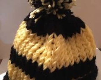 Knitted Black and Yellow Kids Hat