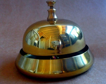 Shiny Brass Shopkeepers Bell Desk Counter Hotel Front Desk RING FOR SERVICE  New/Old Store Stock
