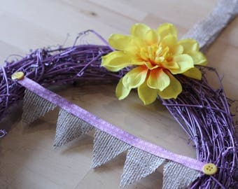 Bunting Season Wreath Wicker Rattan Home Decor Decoration Cottage House Hessian Quirky Homeware Living Summer Festive Floral Flowers Rose