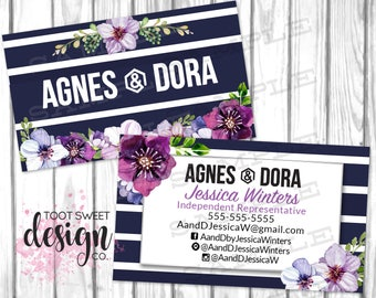 Custom Business Cards Agnes & Dora, Agnes and Dora Consultant Biz Card, Navy Purple Floral, Personalized Marketing Kit / Branding, PRINTABLE