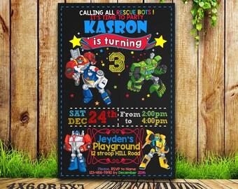 Rescue Bots Invitation / Rescue Bots Birthday / Rescue Bots Party / Rescue Bots Card / Rescue Bots Printable / Rescue Bots / SL