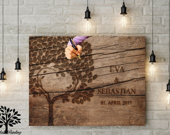 70 x 50 vintage guestbook - wedding tree, wedding tree, memory, engagement, wedding guest book, wood motif, guest book