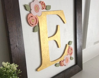 Initial Sign - Custom Initial Sign - Baby Name Sign - Nursery Sign - Nursery Decor - Custom Nursery Sign - Initials - Floral Nursery Sign