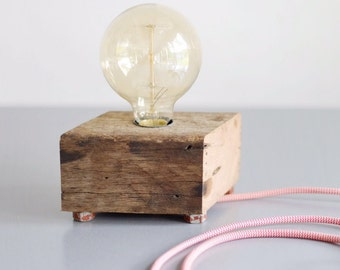 Handmade block lamp on weathered bolts from recycled hardwood (incl. Edison lamp)
