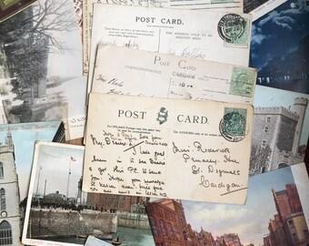 Edwardian stamps on original postcards