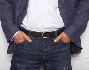 Mens black leather dress belt with detachable buckle