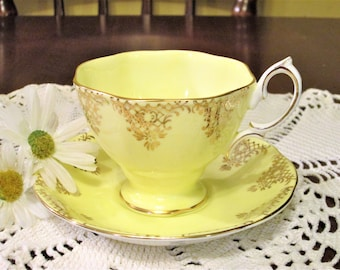 Vintage Royal Albert butter yellow bone china 1950's cup and saucer England