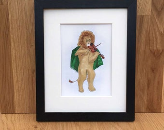 Lion playing a violin, signed giclee print, 5x7 inch