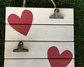 Handpainted heart picture display