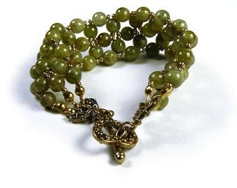 ON SALE!! Green Garnet Beaded Bracelet
