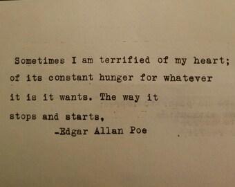 Edgar Allen Poe Typewriter Typed Poetry