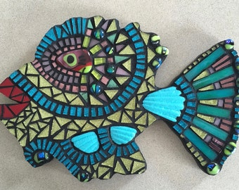 Black-Teal Mosaic Fish
