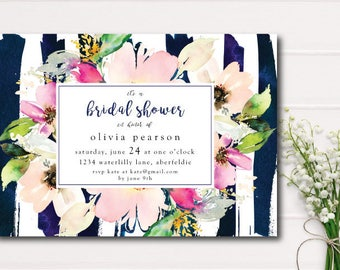 Pink Watercolor Floral Bridal Shower Invitation, Navy Stripe Bridal Shower Printable Invite, Garden Shower Rustic Bridal Shower, pink navy