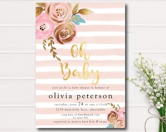 Floral Baby Shower Invitation Florals and Stripes Printable Oh Baby Shower Invite Pink and Gold Foil DIY Printable Baby Shower Invitation