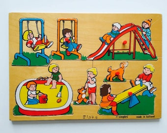 Jigsaw wood vintage puzzle kindergarten playground school