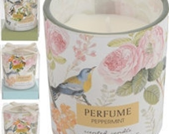Vintage bird design votive scented candle