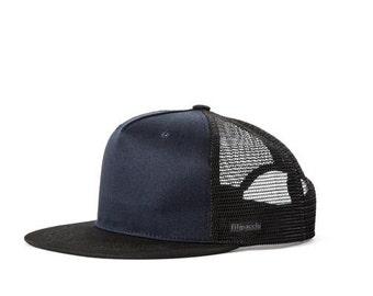 Filipacchi Trucker Cap - Black/Blue Cotton with Mesh