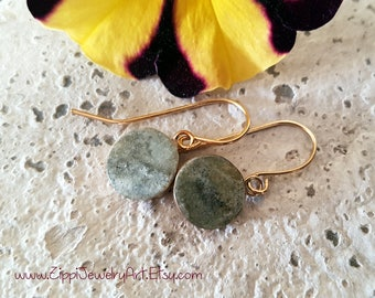 Green gold filled glass small drop earrings. gift for her / handmade / classic