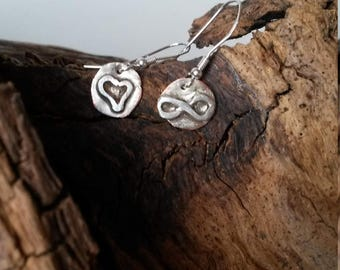 Mismatched Heart & Infinity Earings