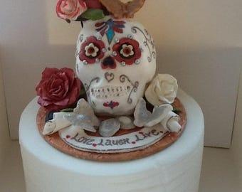 Novelty, sugarpaste, wedding,steampunk, skull, bespoke, edible, handmade, celebration,cake topper, keepsake