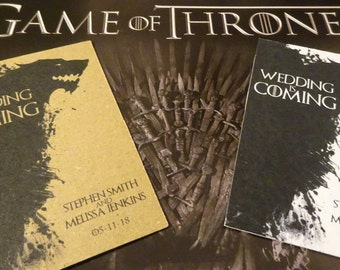Save the Date wedding cards, Game of Thrones House Stark inspired, Hammered card/Kraft card handmade save the date