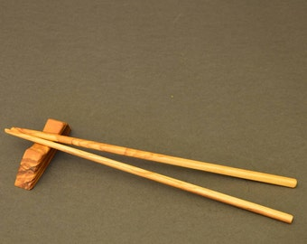 "Olive Wood ""Chop Sticks with Base"" hand made..."