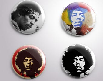 4 JIMI HENDRIX - pins / buttons / magnets - MUSIC - Different options