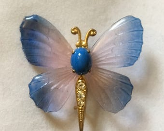 Vintage 1970s Transparent Wing Butterfly Brooch