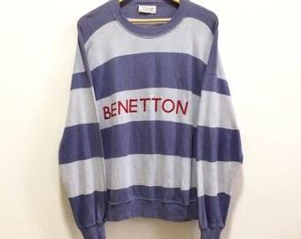 Vintage Benetton Knit Sweater Hip Hop Benetton Spellout Benetton Big Logo
