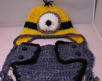 Minion infant hat/diaper cover set