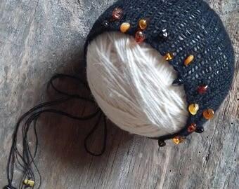 Black bonnet with amber, newborn prop