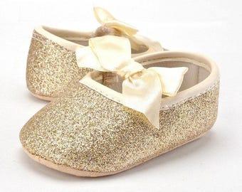 Gold Glitter Baby Girl Ballet Flats
