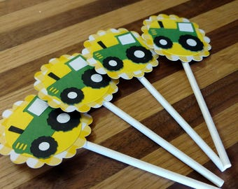 Gingham Green Tractor Cupcake Toppers
