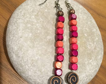 Pink Copper Stack Earrings