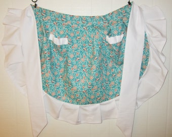 The Bird and The Flower Vintage Style Half Apron with a Solid White Ruffle