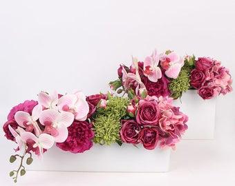Luxury Pink Rose Peony Hydrangea Orchid Flower Arrangement