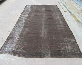 7x12.5 Ft Vintage black goat hair Turkish kilim rug