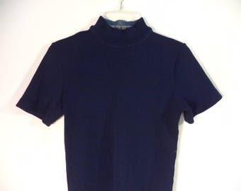 70s ribbed mock turtleneck top// Mod navy blue short sleeve stretchy zipper back minimalist// Vintage USA union made// Women's small XS S