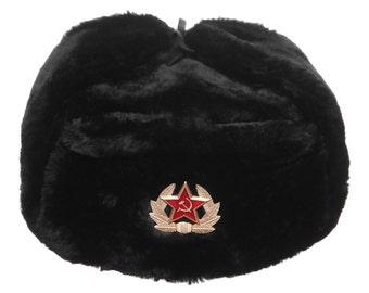 Russian / USSR Army Winter Black Fur Ushanka Hat + Soviet Red Star Badge Sizes S,M,L,XL,XXL