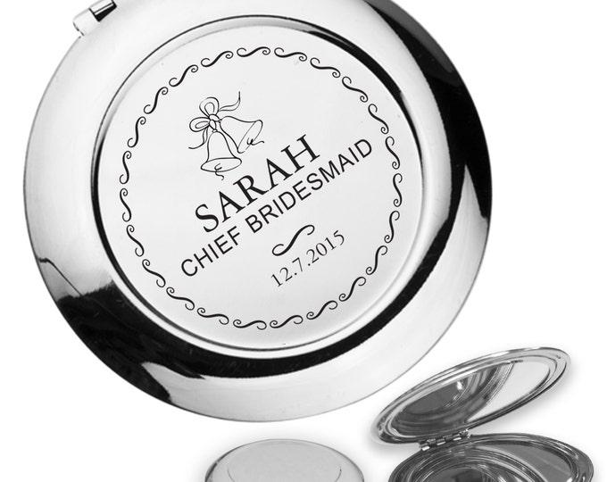 Personalised engraved CHIEF BRIDESMAID compact mirror wedding thank you gift idea, handbag mirror - BL2