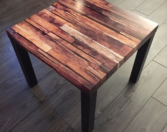 Side table Table in coffee house living room Imitation old wood planks Decoration original