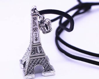 Silver Eiffel Tower Necklace- Pendant and Necklace- Long Necklace- Adjustable- Strap